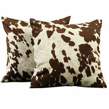 Living Room Throw Pillows Home Decor Cow Hide Print Pillow, Set Of 2 Cushions