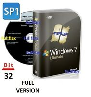 Windows 7 Ultimate 32-bit DVD SP1 Full Version & License Product Key PC