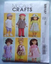 "McCalls Pattern M6137 Doll Clothes 18"" Sewing Top Coat Beret Dress Pants FREE SH"