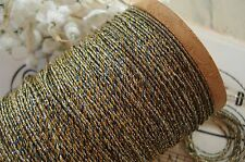 1y VINTAGE FRENCH BLUE GOLD METAL METALLIC EMBROIDERY THREAD FLOSS CORD TWINE