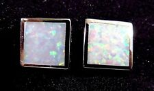 Sterling 925 Silver SF Post Earrings 8mm Square White Lab Fire Opal Inlay