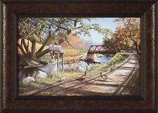 """NARY A CARE"" by Ken Zylla 14.5x20 FRAMED ART Print PHEASANT BRIDGE WILDLIFE"