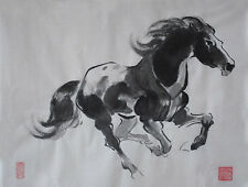 Oridental Artwork Hand Paint Chinese Brush ink watercolor painting  horse signed