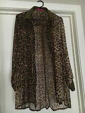 Boohoo Ladies Leopard And Gold Long Sleeve Blouse Top Size 10 New Without Tags