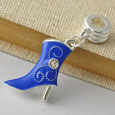 New arrival White Golden Silver Filled Womens Blue Enamel Shoe Charm Beads