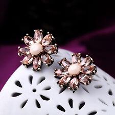 Boucles d`Oreilles Clous Puces Fleur Crystal Ambré Class Vintage NN 3
