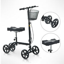 HomCom Steerable Knee Walker Adjustable Foldable Scooter Brake Medical Black
