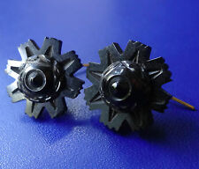 antique Victorian WHITBY JET carved flower domed gilt pierced earrings D389