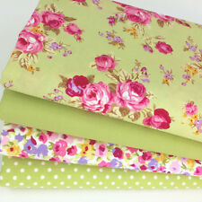 4 fat quarter fabric  bundle Lime green & pink floral mix 100 % cotton poplin