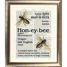 Impresión de arte en Original Antiguo Libro página Vintage Diccionario Honey Bee Imagen