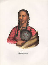 VINTAGE PRINT of 1830's NATIVE AMERICAN INDIAN ~ RANTCHEWAIME FLYING PIGEON IOWA