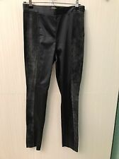 H&M Satin/Suede Paneled Pants, Side Zipper Size 8