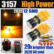 2x 3157 High Power 2835 LED 440LM Amber Yellow Turn Signal Light Bulbs+Resistors