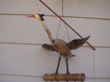 Bamboo Wind Chimes Bobbing Bird Carved Coconut Body FREE SHIP
