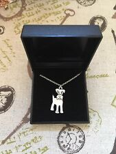 "Brand New in Gift Box Schnauzer Dog Necklace Silver Tone 20"" Christmas"
