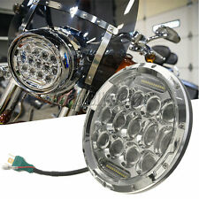 "7"" CHROME 75W PROJECTOR DAYMAKER LED LIGHT BULB HEADLIGHT For Harley Davidson"