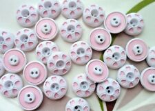 35pcs Plastic Button Round Tiny Heart Cardmaking Appliaue White Pink 12mm