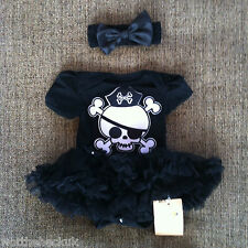 Baby Girls Pirate Skull Halloween Fancy Dress Party Tutu Romper Headband Outfit