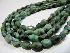 """Natural Emerald Oval Faceted Beads, Strand approx 13""""long, Size  7x9mm to 8x10mm"""