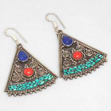 PU1977 NEW ARRIVAL ! Turquoise & 925 Silver Overlay NEPALI TRIBAL Earrings  2.6""