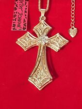 Double Cross Crystal Necklace - Betsey Johnson Fashion Jewelry- USA Seller