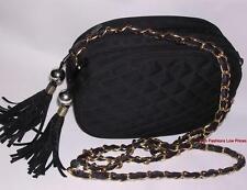 Vtg EVENING BAG Quilted Black 2 Zip Tassel GOLD CrossBody Shoulder Chain Strap