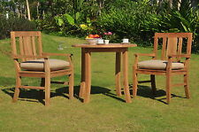"3 PC GARDEN DINING TEAK SET - 36"" ROUND TABLE & 2 ARM CHAIRS OSBORNE"