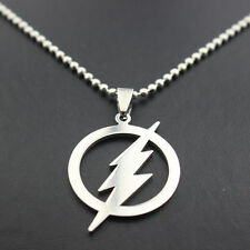 FLASH Necklace Stainless Steel Laser Cut Pendant & Ball Chain Unisex New