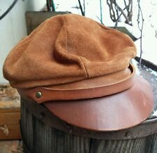 VTG Skully Brown Leather Motorcycle Biker Hat Cap Union Made Gatsby Headwear Med