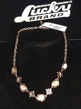 Lucky Brand Antique Gold-Tone Quartz Stones & Flowers Necklace New Tags MSRP $45