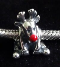 UNBRANDED 925 ST SILVER CHRISTMAS RUDOLPH RED NOSE REINDEER EUROPEAN Charm Bead