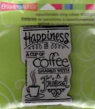 New Stampendous RUBBER STAMP cling Happiness is shared coffee friend free us shp