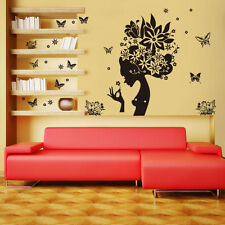 New Woman Flowers Butterfly Vinyl Art Quote Wall Stickers Decal Mural Home Decor