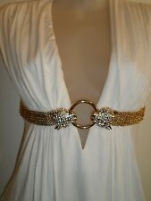 Sky Brand Clothing S Top Keyhole Gold Chain Rhinestone Crystal Leopard White HOT