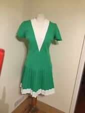 Vintage Mini Dress 12 1960s Green Pleated Mod Scooter