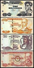 Bolivia Set Of 4 Pcs 10 20 50 100 Bolivianos 1986 ( 2015) Unc P 229 Prefix I - J