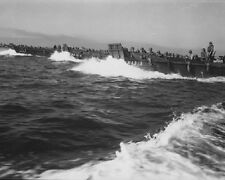 "Line of Coast Guard Landing Craft with soldiers 8""x 10"" World War II Photo 490"