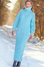 SUPERTANYA BLUE Hand Knitted Mohair Wool Sweater Long Cable Knit Fashion Dress