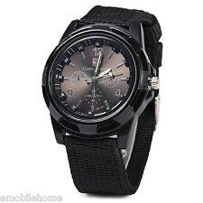 Gemius Solider Army KnittedCanvas Band Male Sport Quartz Wrist Watch Black