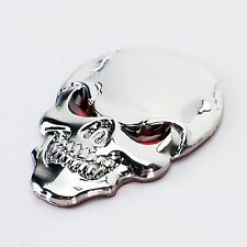 Auto Aufkleber Car Sticker in 3D Optik Scull Silver aus Metal Death Head Biker