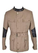 New Belstaff Men $2,495 Peterlee Khaki Cotton Leather Military Coat Jacket~42 52