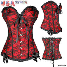 Women Laced Zip Up Overbust Waist Training Corset Top Bustiers Steampunk Shapers