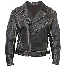 LIVE TO RIDE UK VINTAGE CLASSIC DISTRESSED BRANDO CRUISER BIKER LEATHER JACKET