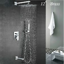 "Bathroom 12"" Rainfall Shower Faucet Set Wall Mount Tub Mixer Tap with Hand Spray"