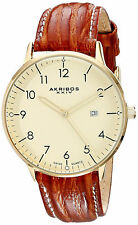 Akribos Watch Men Gold Oro Leather Strap Crystal Hand Hombre Reloj Relogio Uhr