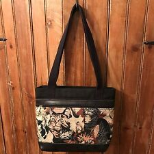 """Cat bag purse """"my Maine bag"""" tapestry canvas leather bottom made USA"""