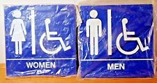WOMEN MEN HANDICAP 8 X 8 SQUARE BLUE BRAILLE RESTROOM DOOR SIGN NEW SET OF 2 LOT