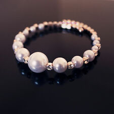 Lovely Fashion 18K Rose Gold Plated Pearl Open Bangle With SWAROVSKI Crystal