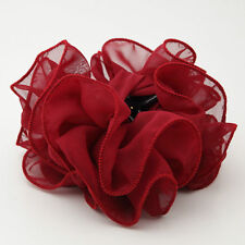 Chiffon Wave Hair Clamp Solid Color Flower Hair Jaw Claw Clip
