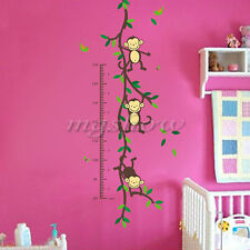 Jungle monkey Animals Height Chart Measurement Wall Stickers Kids Baby Decal DIY